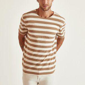BLDWN Adam - Striped SS Tee - Khaki